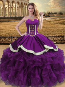 Luxurious Eggplant Purple Ball Gowns Beading and Ruffles Sweet 16 Dress Lace Up Organza Sleeveless Floor Length