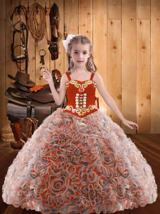 Multi-color Ball Gowns Straps Sleeveless Organza Floor Length Lace Up Embroidery and Ruffles Custom Made Pageant Dress