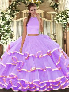 Beading and Ruffled Layers Quinceanera Dresses Lavender Backless Sleeveless Floor Length