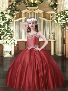 Glorious Wine Red Satin Lace Up Straps Sleeveless Floor Length Little Girl Pageant Dress Beading