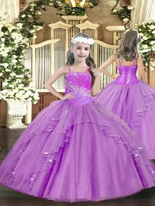 Gorgeous Lilac Tulle Lace Up Little Girl Pageant Gowns Sleeveless Floor Length Ruffles and Sequins