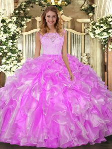 Admirable Lilac 15 Quinceanera Dress Military Ball and Sweet 16 and Quinceanera with Lace and Ruffles Scoop Sleeveless C