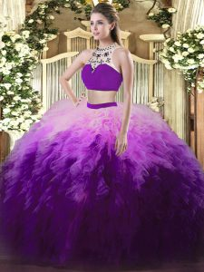 Two Pieces Quinceanera Dress Multi-color High-neck Tulle Sleeveless Floor Length Backless