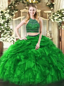 Green Two Pieces Beading and Ruffles Quinceanera Gowns Zipper Tulle Sleeveless Floor Length