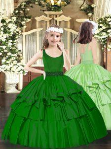 Beading Child Pageant Dress Dark Green Zipper Sleeveless Floor Length
