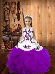 Straps Sleeveless Lace Up Little Girls Pageant Dress Wholesale Eggplant Purple Organza