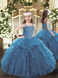 Adorable Teal Tulle Lace Up Straps Sleeveless Floor Length Custom Made Pageant Dress Beading and Ruffles