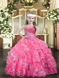 Dramatic Hot Pink Straps Lace Up Beading and Ruffled Layers Pageant Dresses Sleeveless