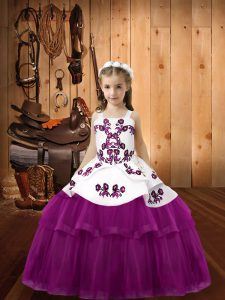Low Price Purple Tulle Lace Up Straps Sleeveless Floor Length Pageant Dresses Embroidery