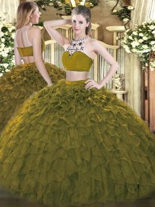 Luxurious Tulle High-neck Sleeveless Backless Beading and Ruffles Sweet 16 Dress in Olive Green