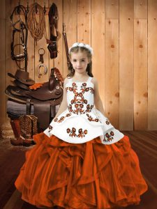Rust Red Sleeveless Embroidery Floor Length Little Girls Pageant Gowns