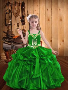 Enchanting Green Organza Lace Up Straps Sleeveless Floor Length Girls Pageant Dresses Embroidery and Ruffles