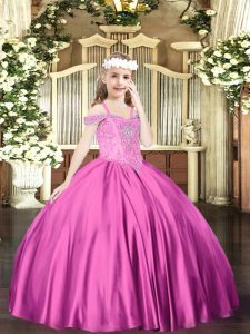 Fuchsia Off The Shoulder Neckline Beading Kids Pageant Dress Sleeveless Lace Up
