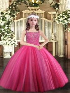Ball Gowns Little Girl Pageant Gowns Hot Pink Straps Tulle Sleeveless Floor Length Lace Up