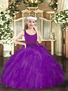 Dramatic Purple Zipper Scoop Beading Child Pageant Dress Tulle Sleeveless