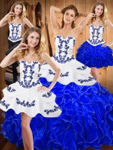 Floor Length Blue And White 15 Quinceanera Dress Satin and Organza Sleeveless Embroidery and Ruffles