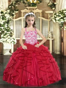 Straps Sleeveless Pageant Gowns Floor Length Beading and Ruffles Coral Red Tulle