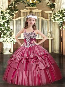 Adorable Hot Pink Organza Lace Up Straps Sleeveless Floor Length Pageant Gowns For Girls Appliques and Ruffled Layers