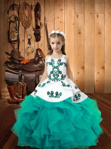 Aqua Blue Ball Gowns Organza Straps Sleeveless Embroidery and Ruffles Floor Length Lace Up Little Girls Pageant Dress