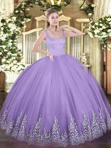 Pretty Lavender Zipper 15th Birthday Dress Appliques Sleeveless Floor Length