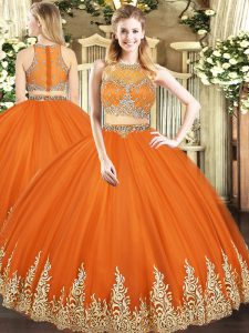 Orange Red Sleeveless Floor Length Beading and Appliques Zipper Sweet 16 Quinceanera Dress