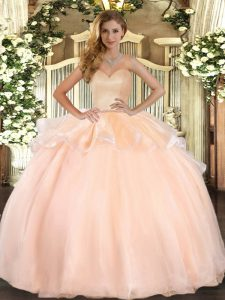 Peach Organza Lace Up Sweet 16 Quinceanera Dress Sleeveless Floor Length Beading and Ruffles