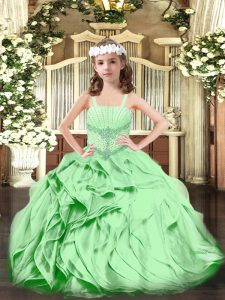 Latest Green Straps Neckline Beading and Ruffles Girls Pageant Dresses Sleeveless Lace Up