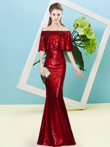 Edgy Half Sleeves Zipper Floor Length Sequins Prom Dress