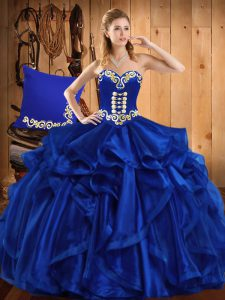 Edgy Floor Length Lace Up Quinceanera Dress Royal Blue for Military Ball and Sweet 16 and Quinceanera with Embroidery an