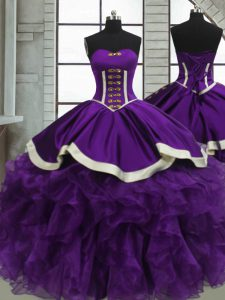 Lovely Purple Sleeveless Floor Length Beading and Ruffles Lace Up Vestidos de Quinceanera