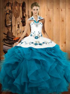 Edgy Teal 15 Quinceanera Dress Military Ball and Sweet 16 and Quinceanera with Embroidery and Ruffles Halter Top Sleevel