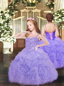 Wonderful Lavender Ball Gowns Spaghetti Straps Sleeveless Organza Floor Length Lace Up Appliques and Ruffles and Pick Up