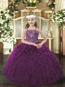 Excellent Dark Purple Ball Gowns Straps Sleeveless Organza Floor Length Lace Up Beading and Ruffles Pageant Dress for Te