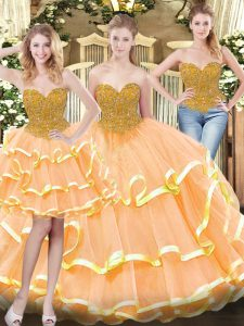 Eye-catching Peach Sleeveless Tulle Lace Up Quinceanera Gown for Military Ball and Sweet 16 and Quinceanera