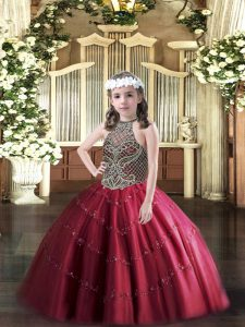 Custom Design Wine Red Sleeveless Tulle Lace Up Pageant Gowns For Girls for Party and Quinceanera
