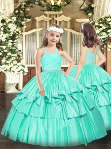 Sleeveless Organza Floor Length Zipper Little Girls Pageant Dress in Turquoise with Beading and Lace