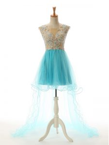 Aqua Blue Scoop Neckline Appliques Prom Gown Sleeveless Backless