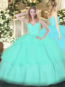 Ideal Organza Spaghetti Straps Sleeveless Zipper Ruffled Layers Quinceanera Gowns in Apple Green