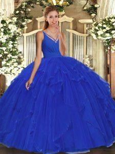 Beading and Ruffles Ball Gown Prom Dress Blue Backless Sleeveless Floor Length