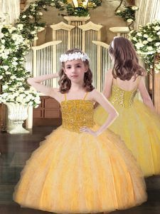 Sleeveless Organza Floor Length Lace Up Little Girl Pageant Dress in Orange with Beading and Ruffles