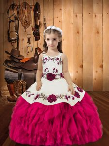 Fuchsia Lace Up Straps Embroidery and Ruffles Little Girl Pageant Gowns Organza Sleeveless