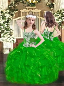 Custom Designed Ball Gowns Pageant Gowns For Girls Green Straps Organza Sleeveless Floor Length Lace Up