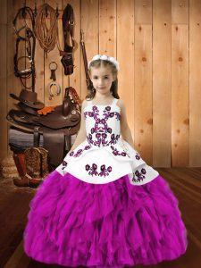 Floor Length Ball Gowns Sleeveless Fuchsia Girls Pageant Dresses Lace Up