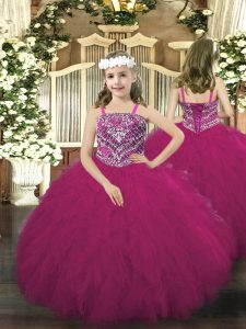 Fuchsia Tulle Lace Up Straps Sleeveless Floor Length Little Girls Pageant Dress Beading and Ruffles