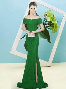 Green Zipper Dress for Prom Sequins Short Sleeves Sweep Train