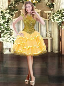 Modern Cap Sleeves Organza Mini Length Zipper Prom Evening Gown in Gold with Beading and Ruffled Layers