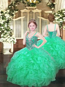 Spaghetti Straps Sleeveless Custom Made Pageant Dress Floor Length Beading and Ruffles Turquoise Organza