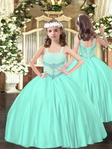 Apple Green Sleeveless Floor Length Beading Lace Up Pageant Dress for Womens