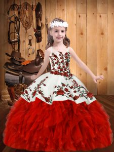 Customized Sleeveless Floor Length Embroidery and Ruffles Lace Up Pageant Gowns For Girls with Red