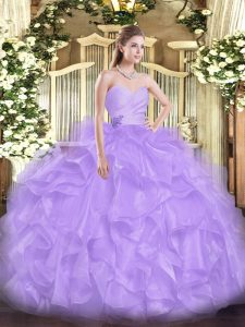 Lavender Sleeveless Floor Length Beading and Ruffles Lace Up Sweet 16 Dresses